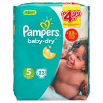 Pampers Baby Dry Size 5 23 Nappies PM £4.99