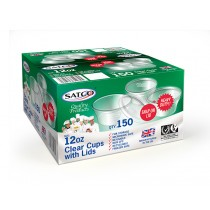 Satco 12oz Clear Cups with Lids